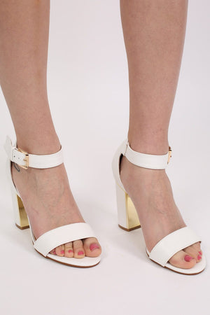 Block Heel Strappy Sandals in White 0
