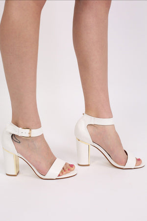 Block Heel Strappy Sandals in White 1