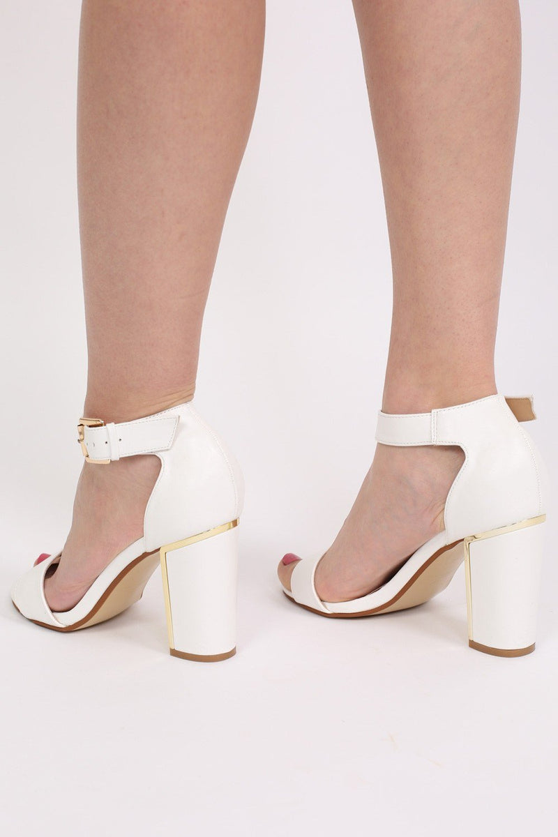 Block Heel Strappy Sandals in White 2