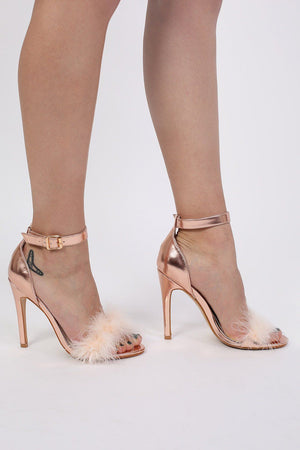 Metallic Faux Feather Strappy High Heel Sandals in Rose Gold 1