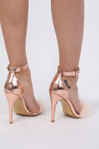 Metallic Faux Feather Strappy High Heel Sandals in Rose Gold 2