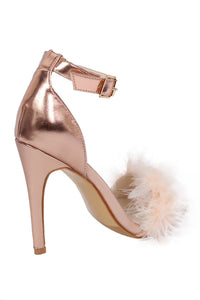 Metallic Faux Feather Strappy High Heel Sandals in Rose Gold 5