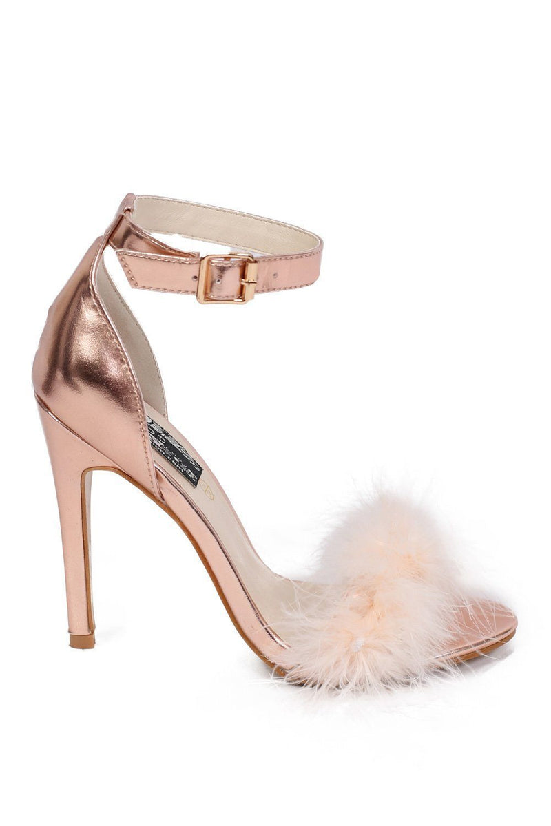 Metallic Faux Feather Strappy High Heel Sandals in Rose Gold 4