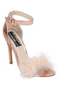 Metallic Faux Feather Strappy High Heel Sandals in Rose Gold 3