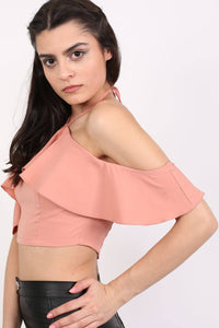 Tie Halter Neck Frill Crop Top in Dusty Pink 1