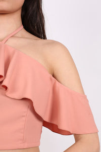 Tie Halter Neck Frill Crop Top in Dusty Pink 2