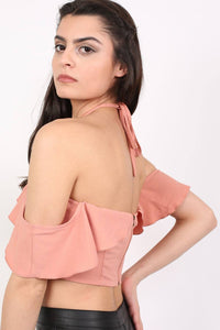 Tie Halter Neck Frill Crop Top in Dusty Pink 3