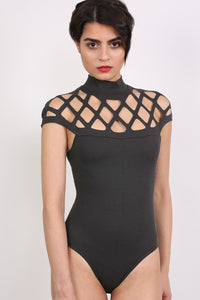 Choker Caged Detail Bodysuit in Black 2