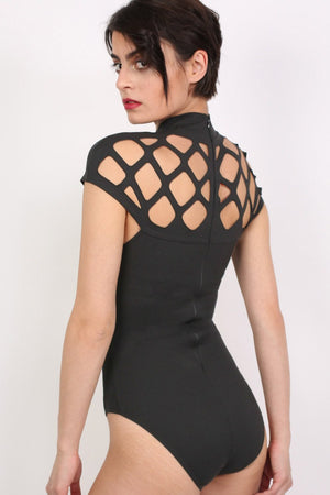 Choker Caged Detail Bodysuit in Black 3