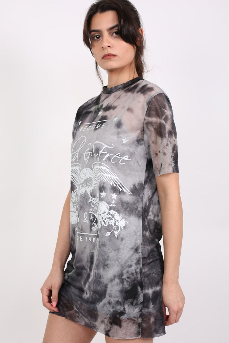 Wild And Free Graphic Mesh T-Shirt Dress in Black 1