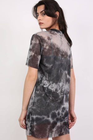 Wild And Free Graphic Mesh T-Shirt Dress in Black 2