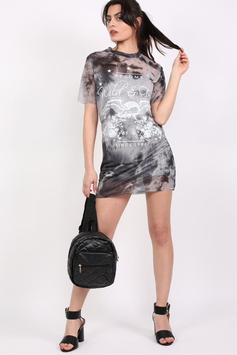 Wild And Free Graphic Mesh T-Shirt Dress in Black 4