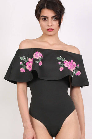 Embossed Floral Print Frill Bardot Bodysuit in Black 2