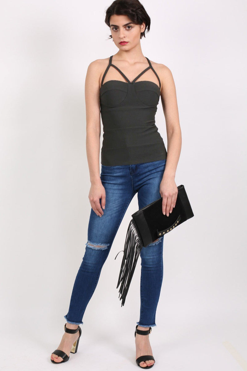 Ribbed Bandage Strappy Top in Black 2