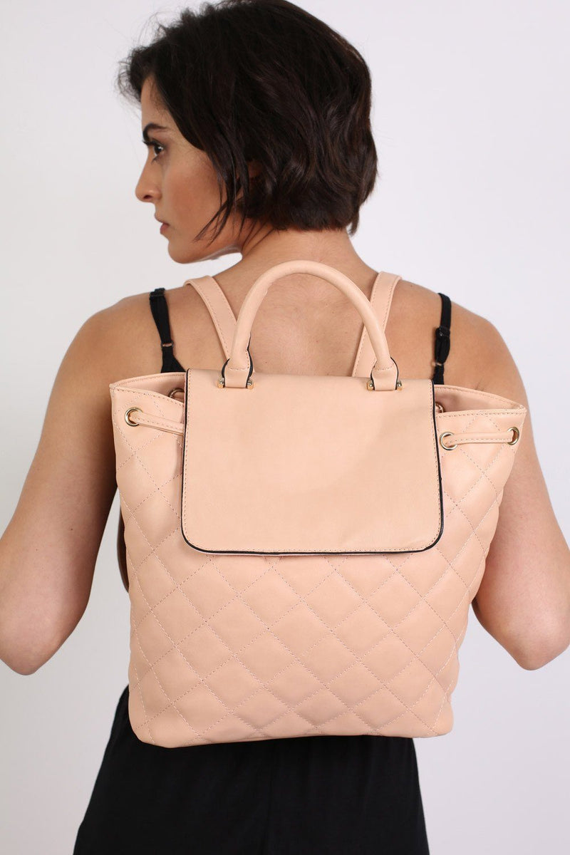 Quilted Detail Backpack in Nude 0