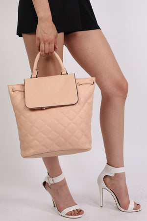 Quilted Detail Backpack in Nude 1