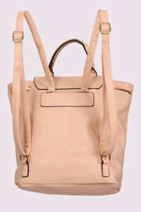 Quilted Detail Backpack in Nude 4