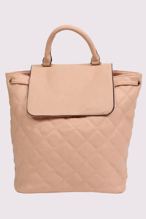 Quilted Detail Backpack in Nude 3