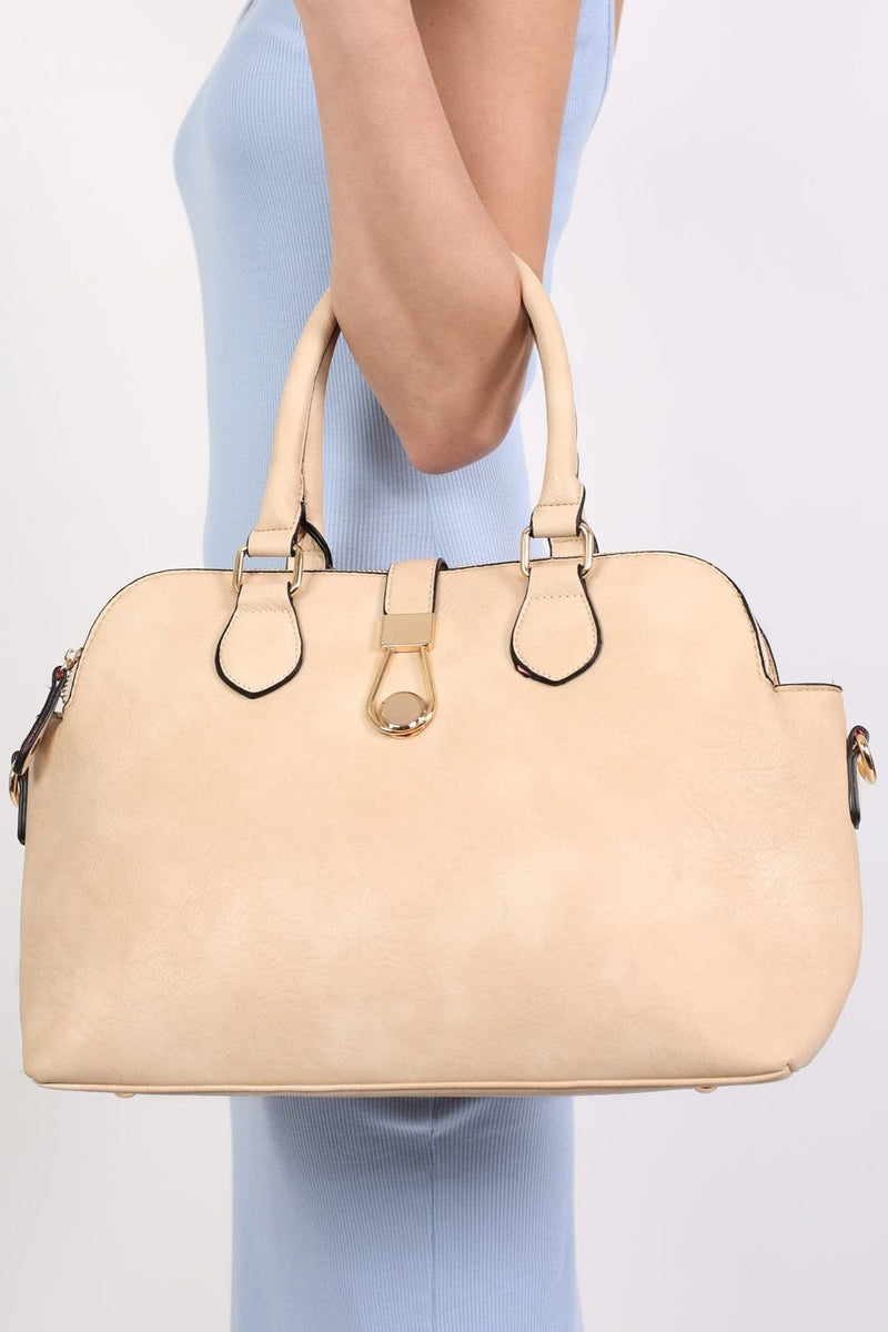 Two Handle Bowler Tote Bag in Champagne 0