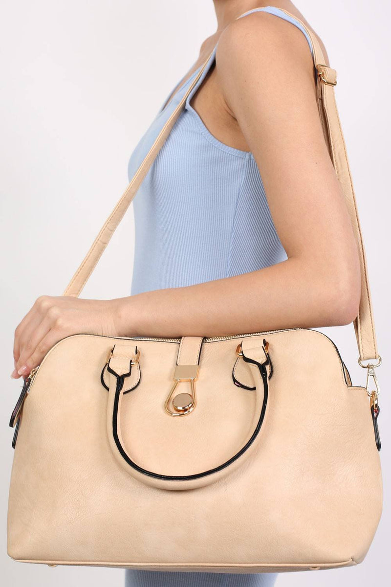 Two Handle Bowler Tote Bag in Champagne 1