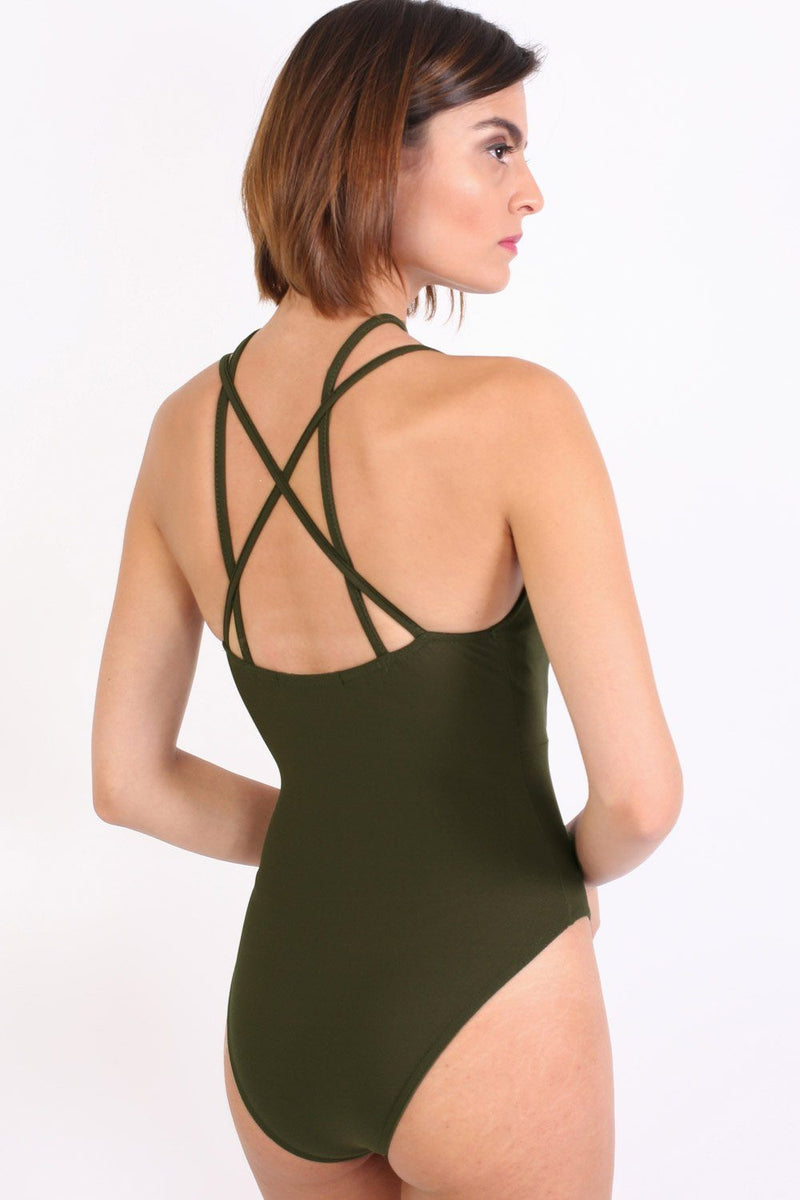 Ladder Caged Front Bodysuit in Khaki Green 3