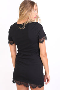 Lace Trim Graphic T-Shirt Mini Dress in Black 2