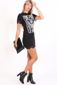 Lace Trim Graphic T-Shirt Mini Dress in Black 3