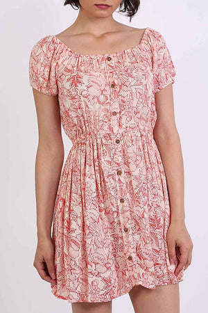 Scoop Neck Smock Printed Skater Mini Dress in Coral 4