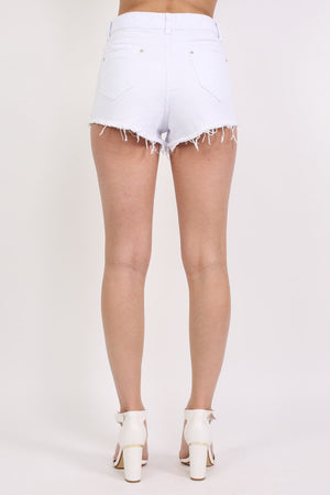 Floral Embroidered Denim Shorts in White 2