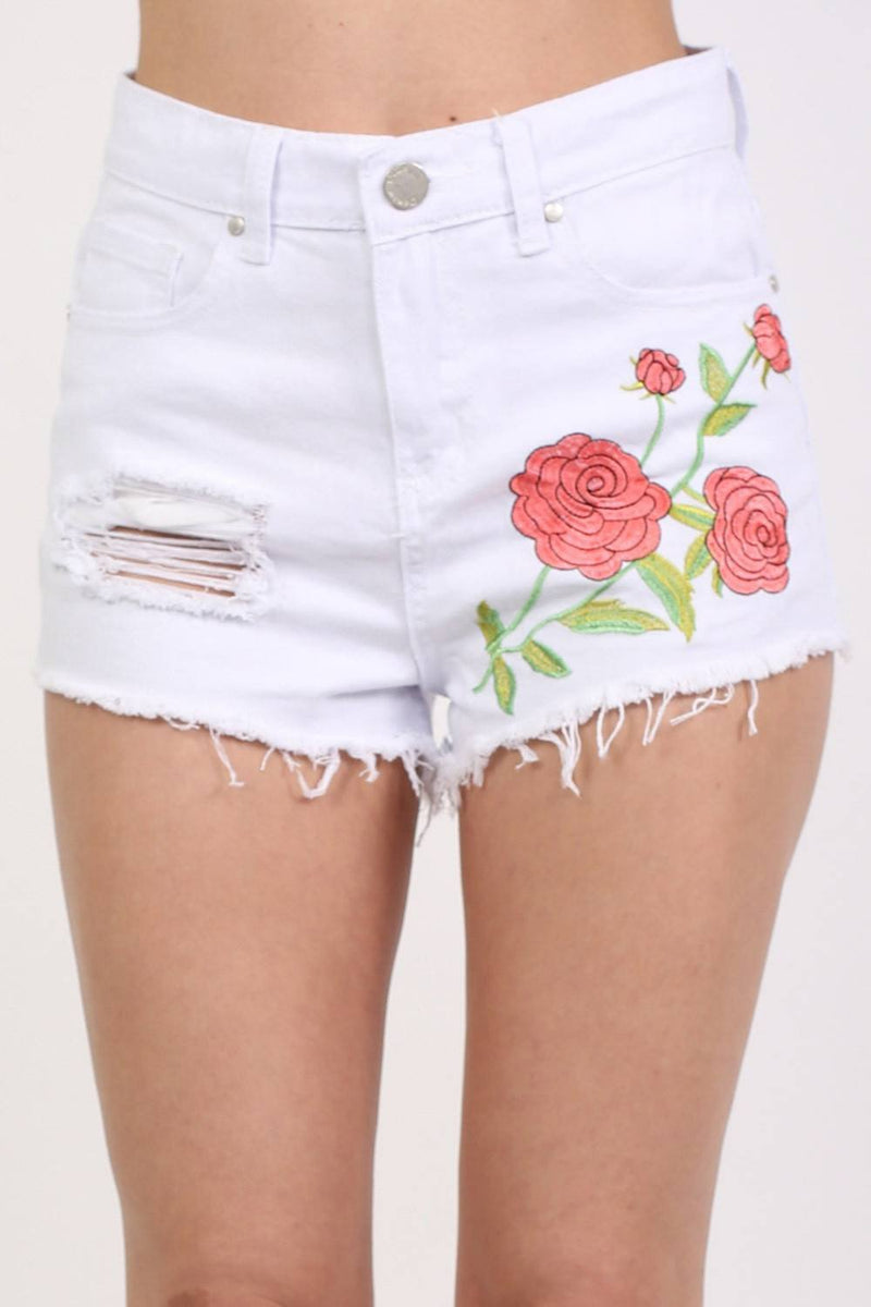 Floral Embroidered Denim Shorts in White 3