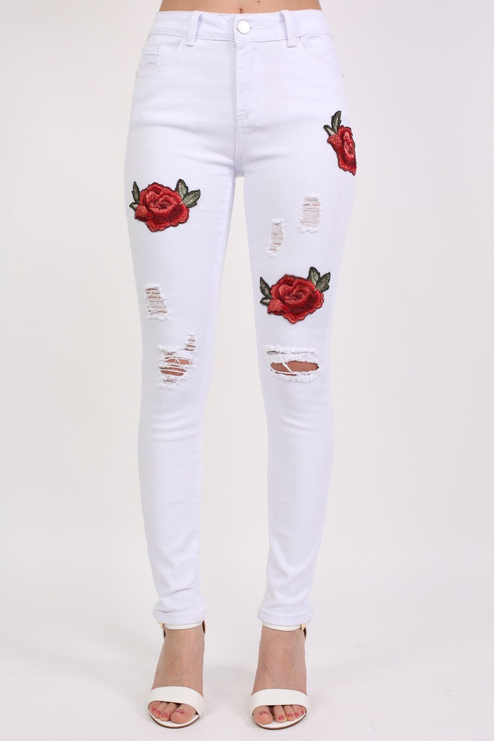 Floral Embroidered Ripped Skinny Jeans in White 0