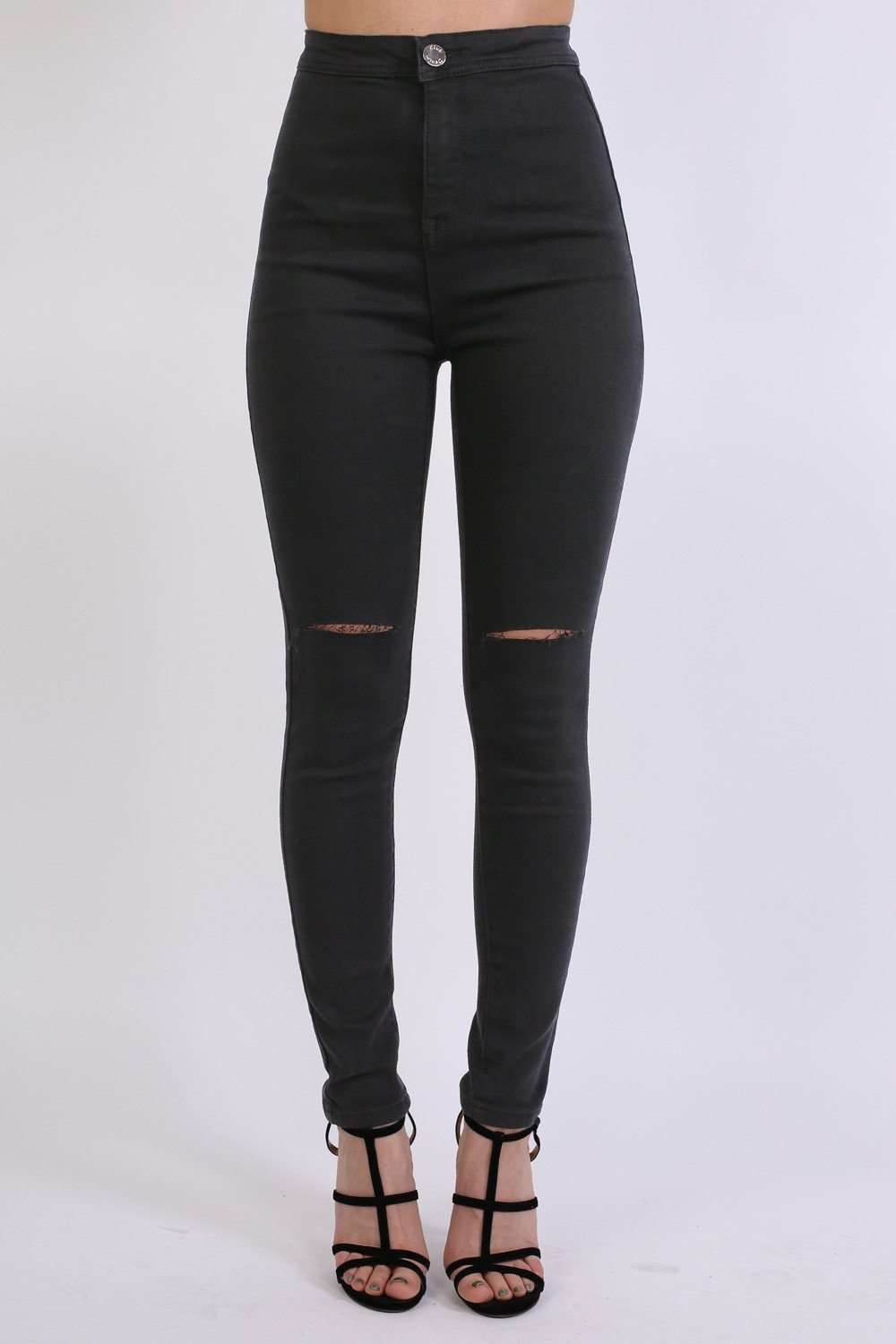 High Waisted Ripped Knee Skinny Jeans in Black 0