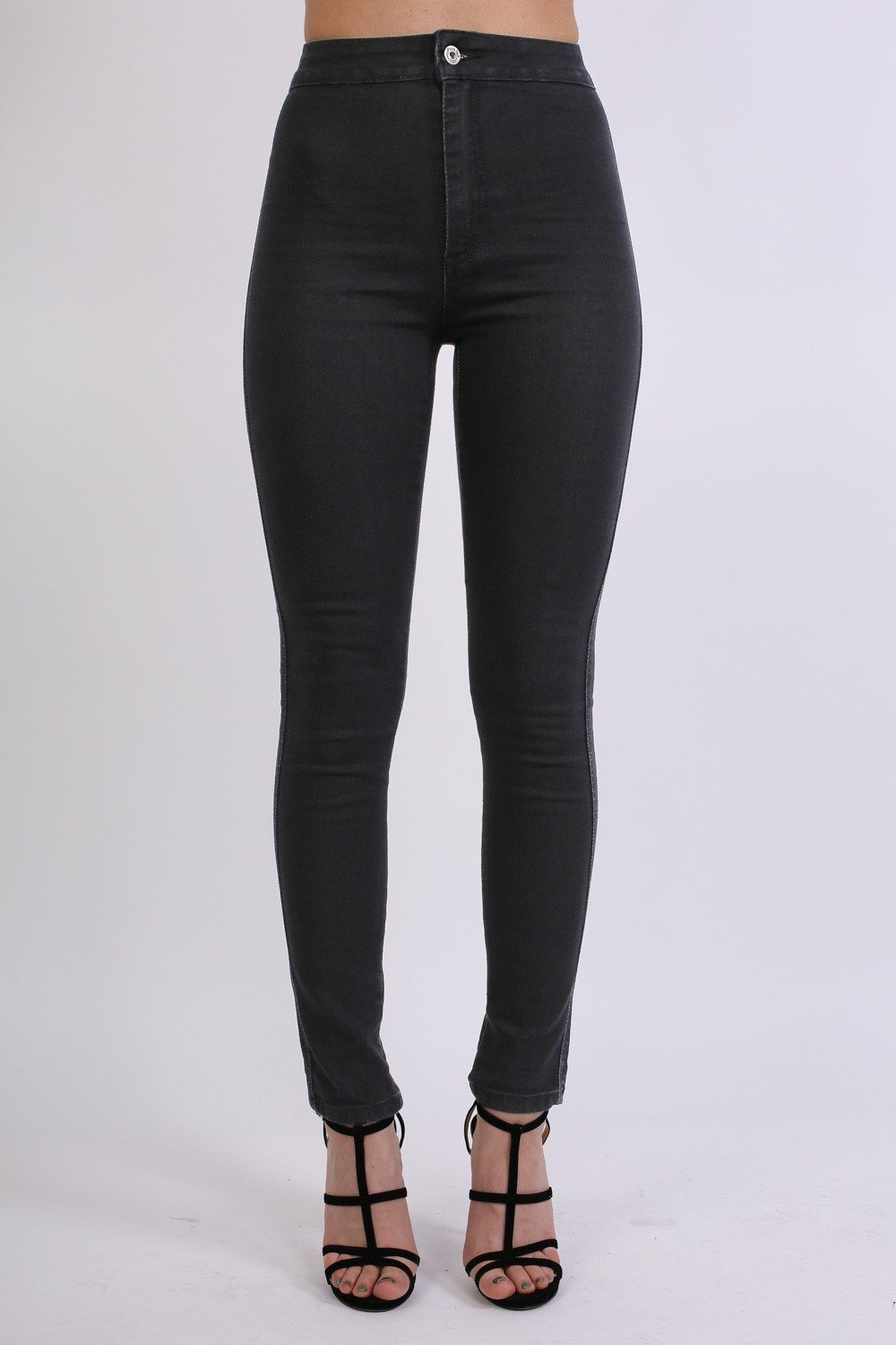 High Waisted Super Skinny Jeans in Black 0