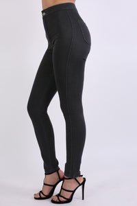 High Waisted Super Skinny Jeans in Black 1