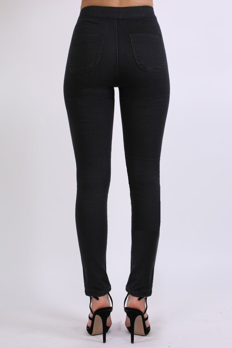High Waisted Super Skinny Jeans in Black 2