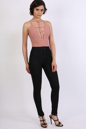 High Waisted Super Skinny Jeans in Black 3