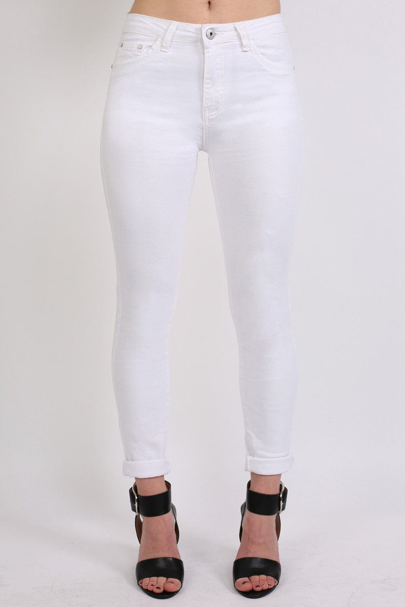 Plain 5 Pocket Stretch Skinny Jeans in White 0