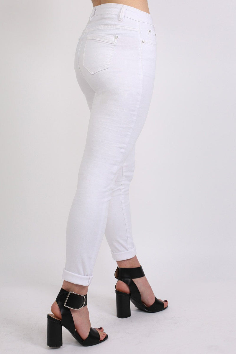 Plain 5 Pocket Stretch Skinny Jeans in White 1