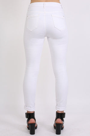 Plain 5 Pocket Stretch Skinny Jeans in White 2