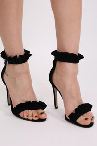 Frill Detail Strappy High Heel Sandals in Black 1