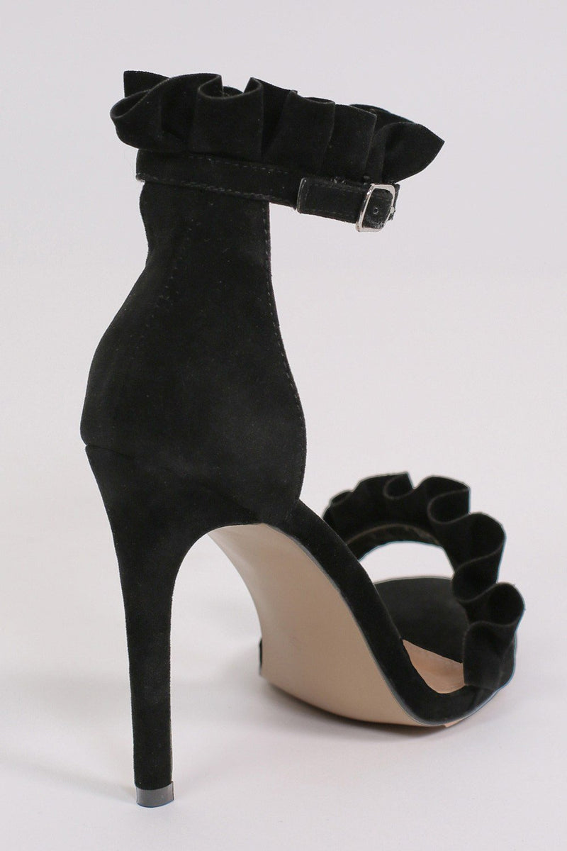 Frill Detail Strappy High Heel Sandals in Black 5