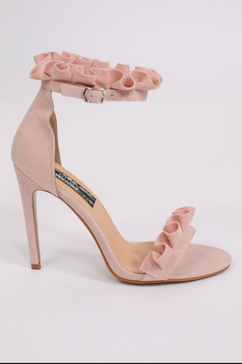 Frill Detail Strappy High Heel Sandals in Pale Pink 4