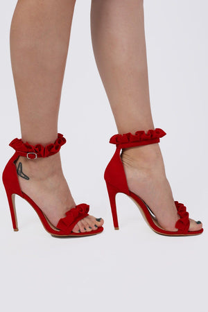 Frill Detail Strappy High Heel Sandals in Red 1