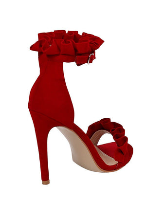 Frill Detail Strappy High Heel Sandals in Red 5