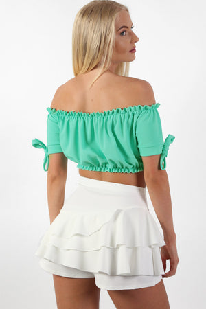 Ruched Bardot Gypsy Crop Top in Aqua Green 2