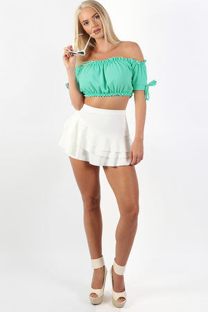 Ruched Bardot Gypsy Crop Top in Aqua Green 3