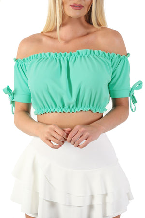 Ruched Bardot Gypsy Crop Top in Aqua Green 4