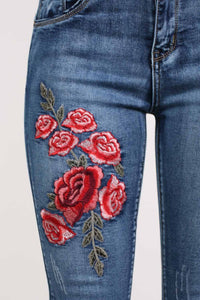 Floral Embroidered Skinny Distressed Denim Jeans 1