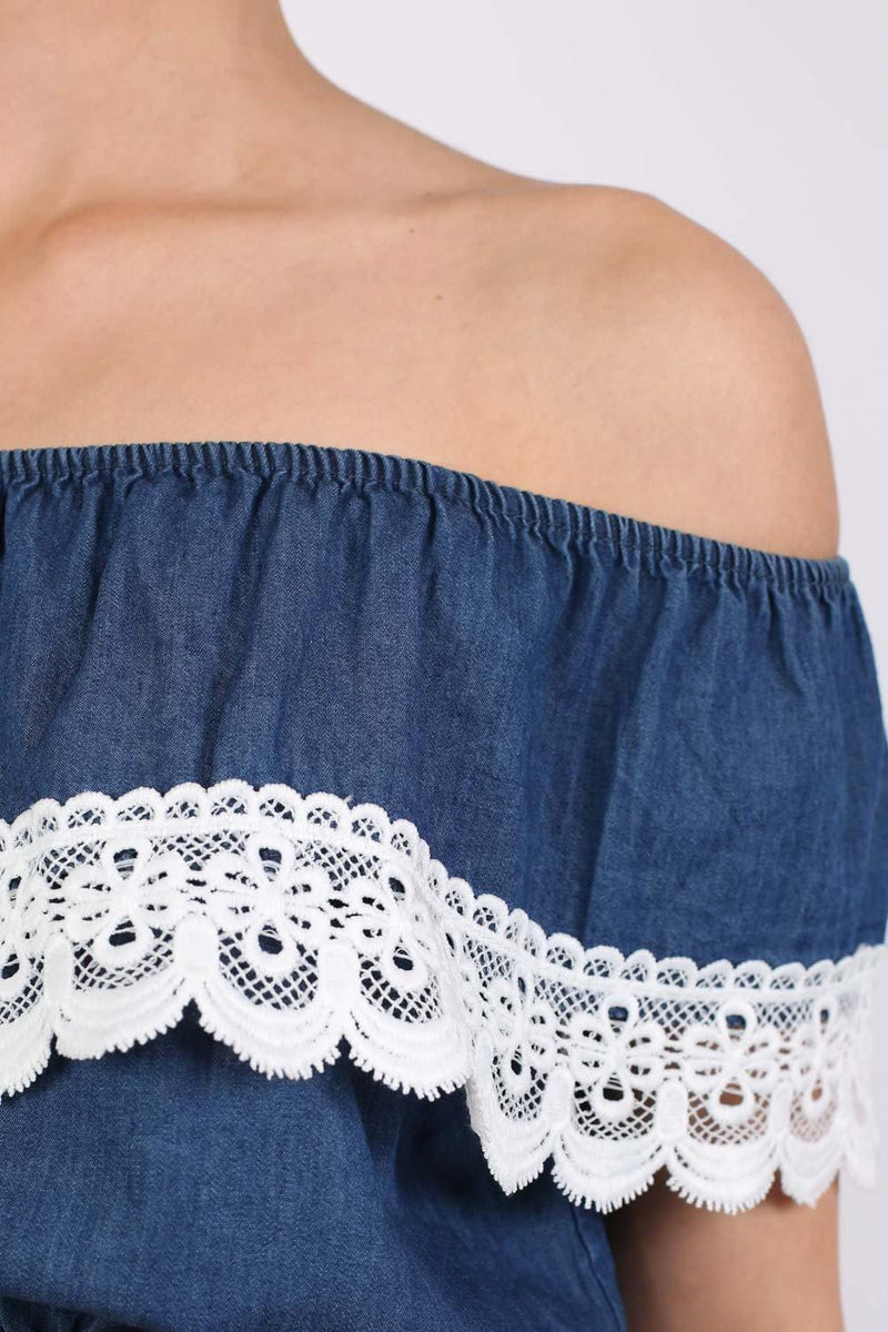 Chambray Crochet Trim Frill Bardot Crop Top in Dark Denim 2