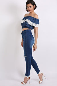 Chambray Crochet Trim Frill Bardot Crop Top in Dark Denim 3